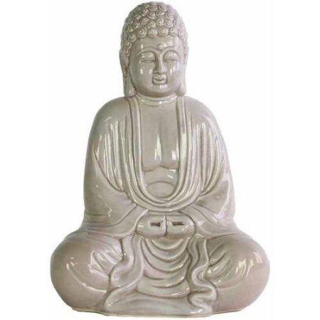 Urban Trends Collection: Ceramic Buddha Figurine, Gloss Finish, White, Gray