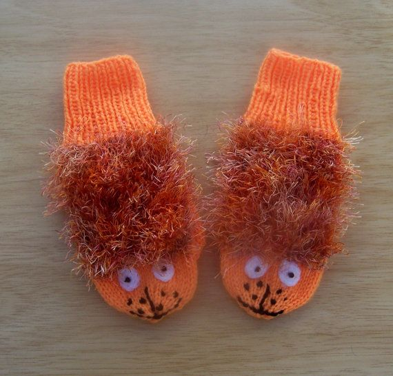 Handknitted Children Mittens, Cute Mittens, Panther Mittens, Orange mittens, UK Seller on Etsy, $19.71