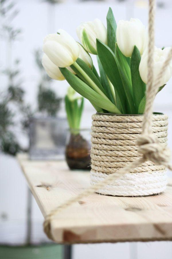Rope decor idea on tin can vase