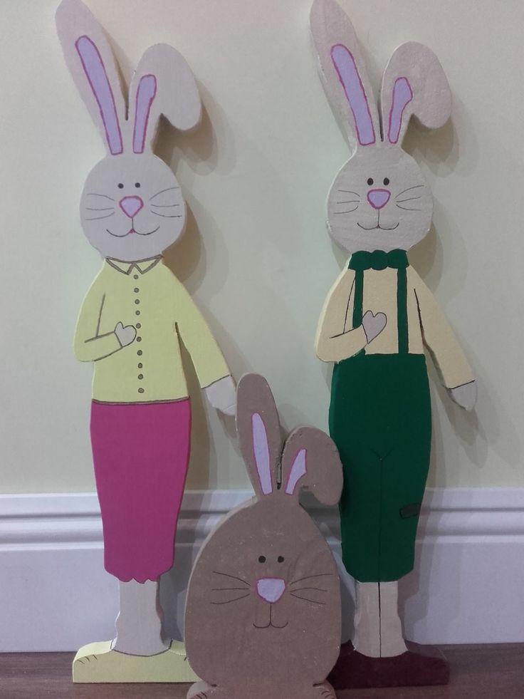Bunny family from wood. My husband did the woodcarving, I painted it. photo by me :-)