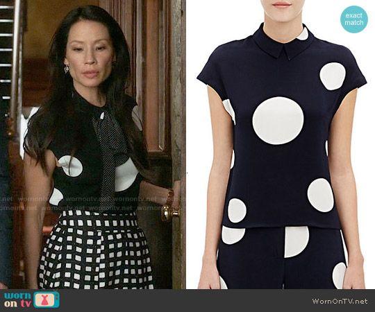 Joan's polka dot top on Elementary.  Outfit Details: http://wornontv.net/54953/ #Elementary