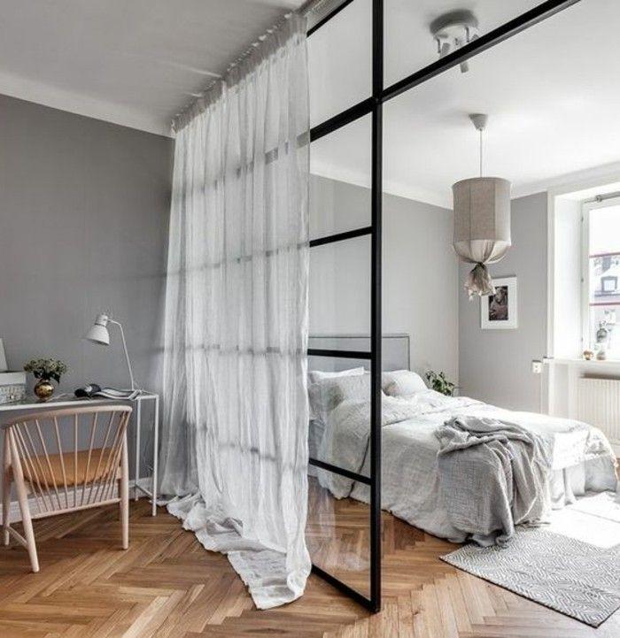 Wohnung Einrichten Ideen Raumteiler Gardinen Bett Boden