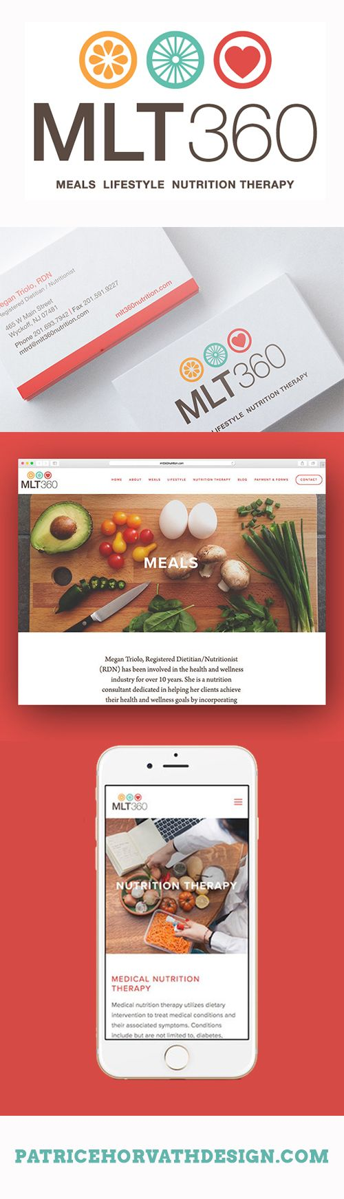 Creative branding, logo and web design for small businesses. MLT360 Nutritionist Logo by Patrice Horvath Design.
