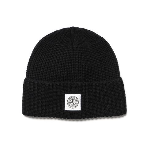Stone Island Patch Logo Ribbed Lambswool Beanie Nero