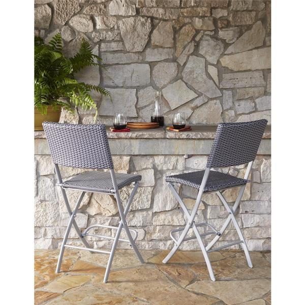 COSCO Outdoor Living Transitional 2-pack Delray Steel Woven Wicker High Top Folding Patio Bistro Stools