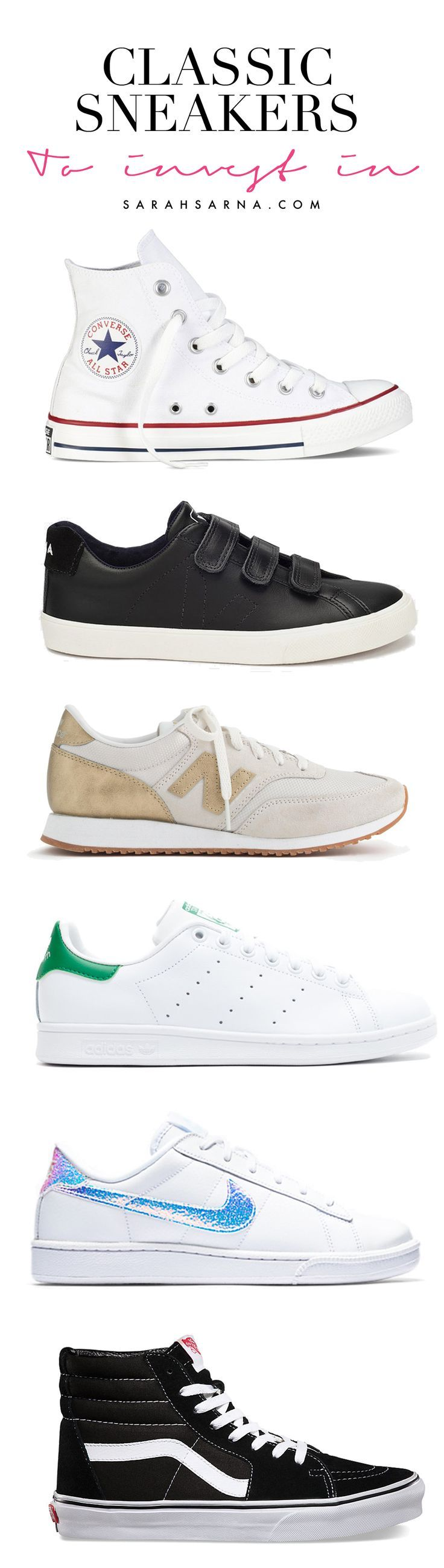 Style Ideas. White Converse All Star high top sneakers with red stripe, adidas Stan Smith sneakers, new balance sneakers, vans sneakers, and more classics that can be dressed up or down.