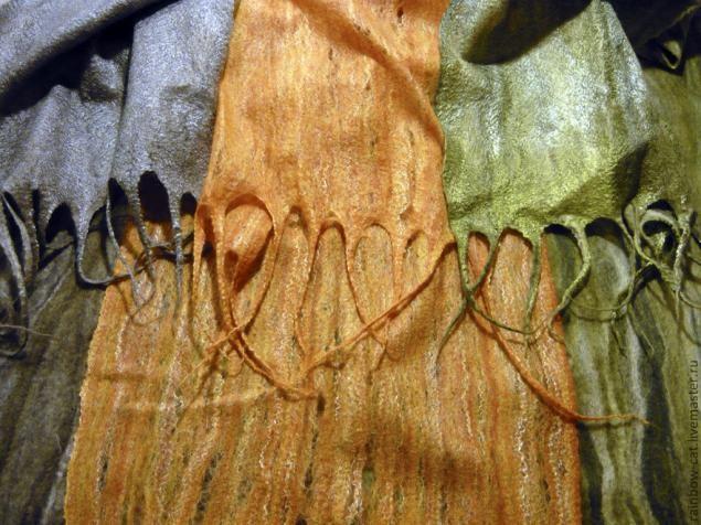 Тончайший шарф без дырок в технике мокрого валяния.  Из ленты. Обсуждение на LiveInternet - Российский Сервис Онлайн-Дневников