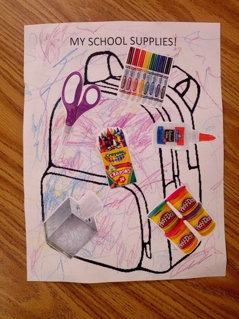 My School Supplies Backpack (free download) - Great for Pre-K Complete's Back to School Theme! Pinned by Pre-K Complete - follow us on our blog, FB, Twitter, & Google Plus!