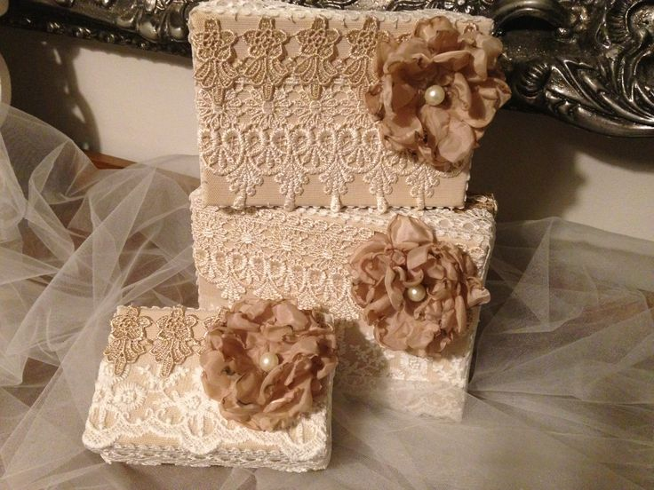 Handmade keepsake boxes - set of 3. Decorated with lace and handmade flowers. Available from my etsy shop at www.etsy.com/shop/EnchantedLaceDecor
