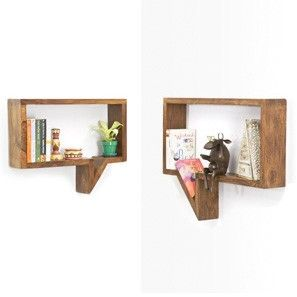 Quote-Unquote Wall Shelves (Set of 2) (Teak Finish)