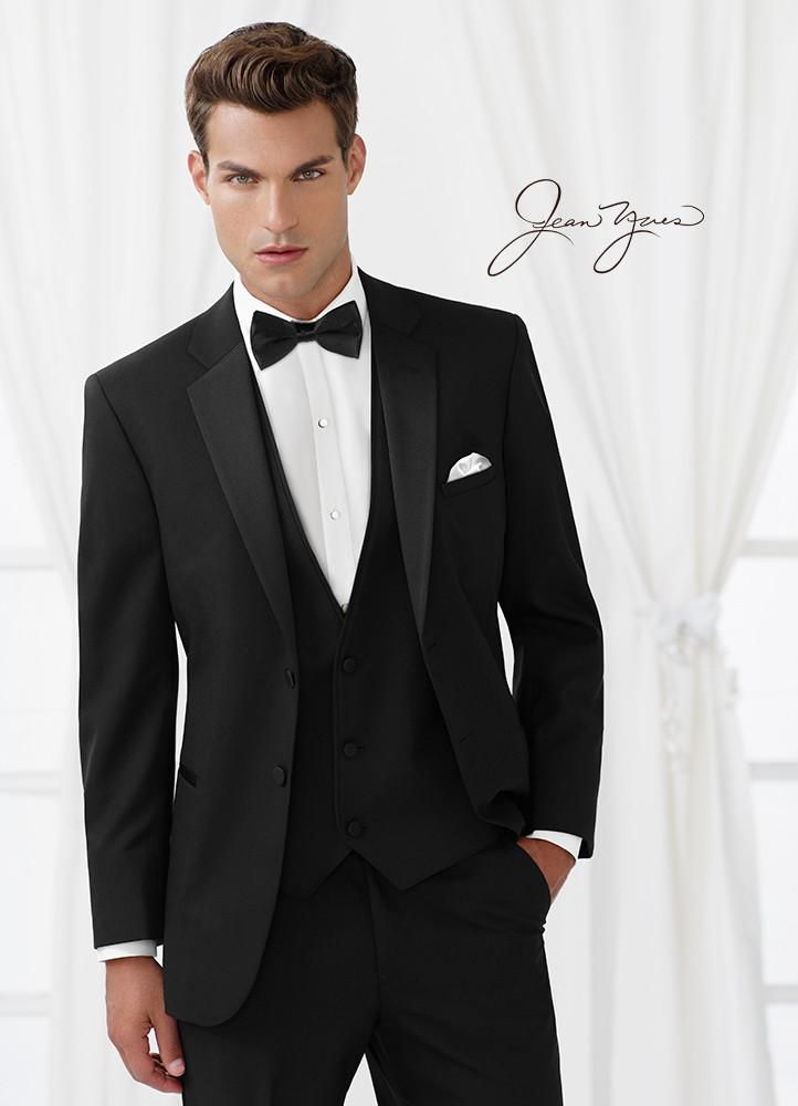 Slim Fit Black Two Button Tuxedo By Jean Yves Black Suit Wedding Wedding Suits Men Wedding Suits