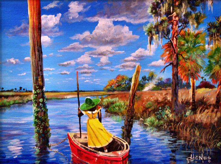 """Cainhoy Creek Getaway"" by John James, a SC Gullah artist. I love the rich Gullah culture and their beautiful art"