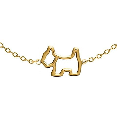 925 Sterling silver gold plated thin chain bracelet with cute hollow AGATHA Paris Scottie dog - NZD$187