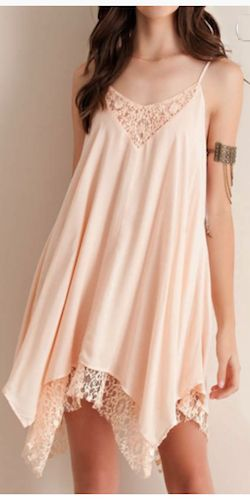 Little Peach Lacy Dress Material: 100% Rayon Color: Peach Sizes: S, M, L