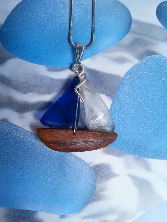 Sea Glass Sailboat Pendant with Carved Driftwood Hull by Geoff Goodman