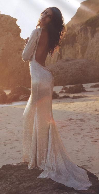 backless sequin gown / blackburn bridal