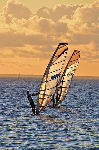 I love the moment when I hold the sail like this, and board is slowly turning and turning, and then it just stops and there is me just stadning on the water like Jesus or something