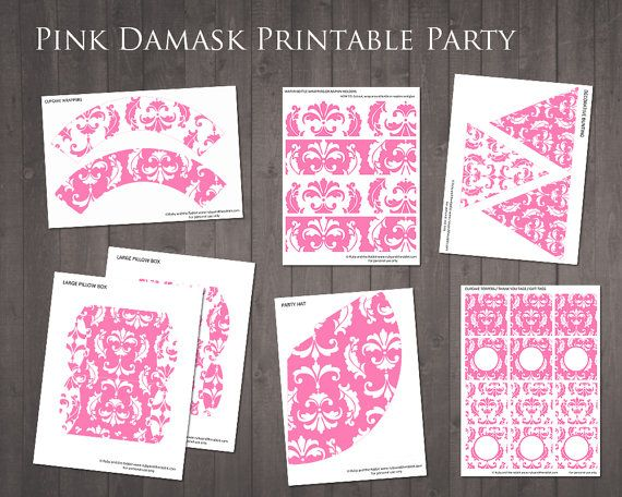 Pink Damask Party  Printable Party Decorations by RubyAndTheRabbit, £5.00