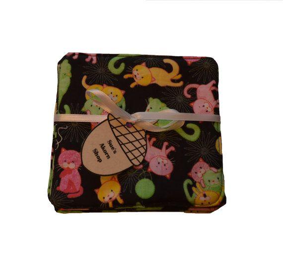 Kitty Coaster Set Fabric Coaster Mug Rug Drink by SuesAkornShop