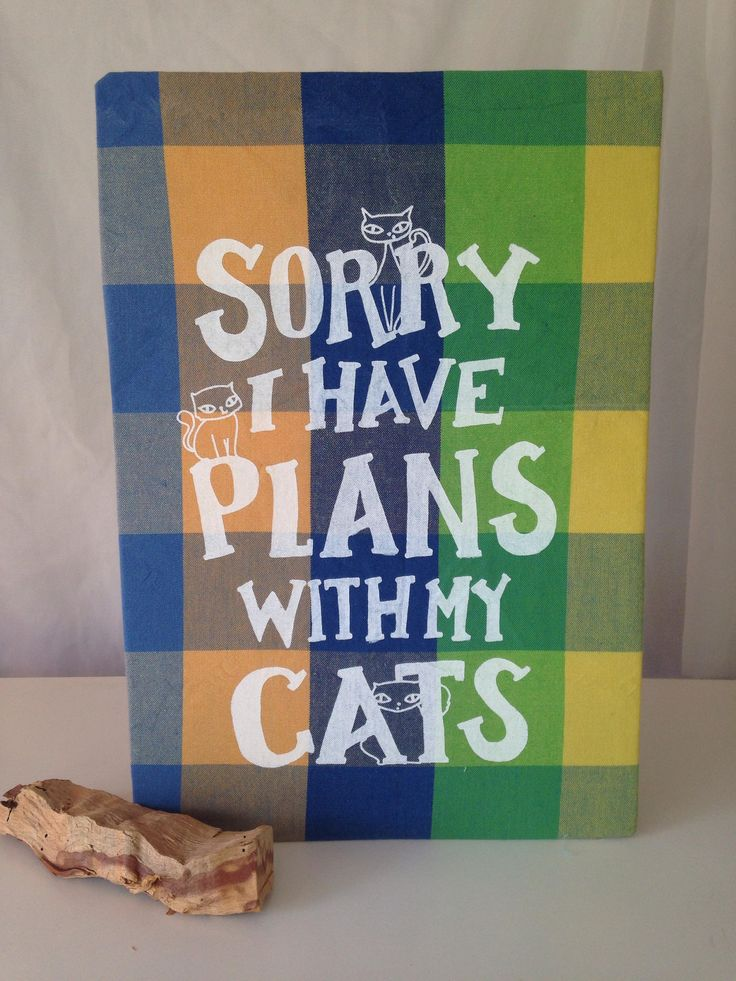 Here's the latest addition to my #etsy shop: Sorry, I Have Plans with my Cats: Original Mushpa + Mensa Design Hand Printed on Upcycled Fabric Mounted on Cardboard http://etsy.me/2j27qqi #art #printmaking #crazycatlady #cat #feline #print #recycled
