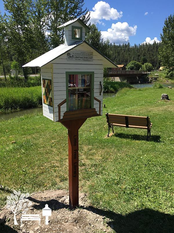 An adorable #LittleFreeLibrary with a little bell tower in Eureka, MT!