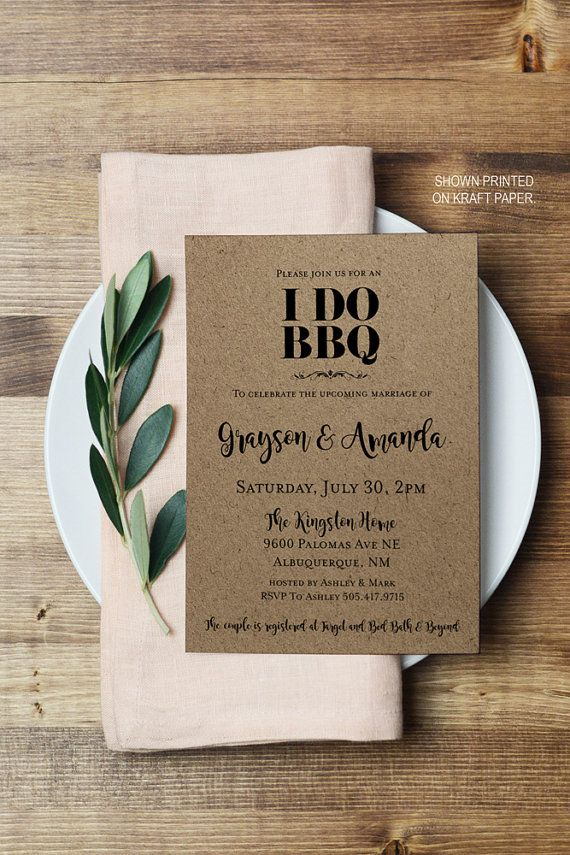 baby shower bbq invitation templates%0A I DO BBQ Couples Engagement Invitation  Printable Editable PDF Invites  Adobe Reader  Black  u     White Modern Party Invitations