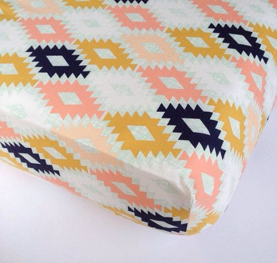 Aztec Fitted Crib Sheets - Changing Pad Covers / Southwestern Mini Crib Sheet / Aztec Crib Sheet / Navy Blue Coral Mint Nursery Crib Sheet