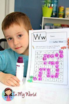 Preschool Letter W FREE upper and lower case letter maze