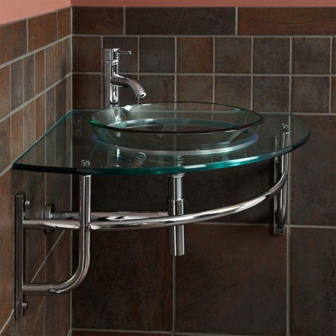 Ardmore Clear Glass Wall-Mount Corner Sink - Bathroom Sinks - Bathroom