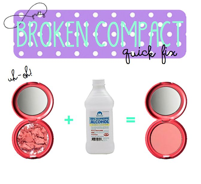 Whhaaaaaaat !! Fix your broken compact with just alcohol. Rub it in to create a paste then let sit for a day!!