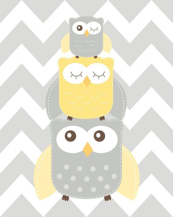 Nursery Art Trio Nursery Owl Art Grey and Yellow by ChicWallArt