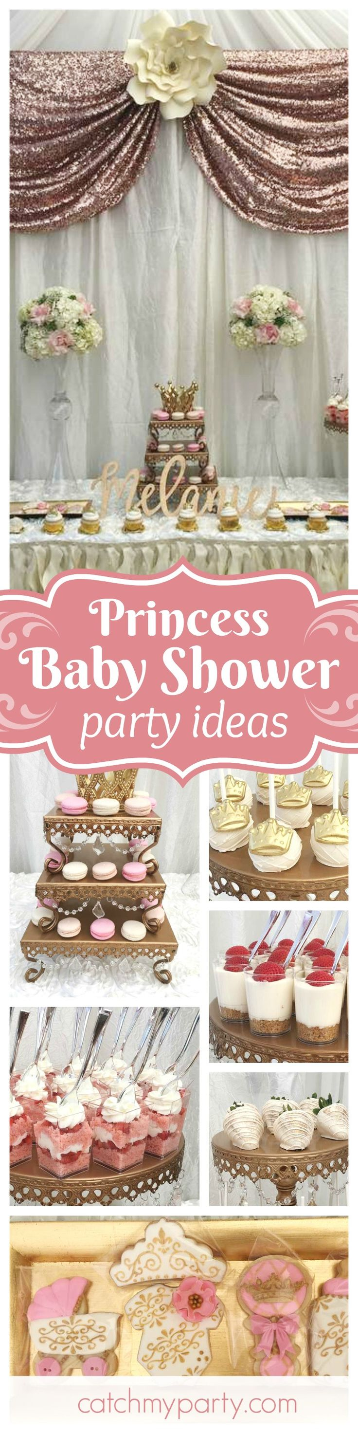 Take a look at this glamorous Princess themed Baby Shower! The decorated cookies are adorable!! See more parrty ideas and share yours at CatchMyParty.com