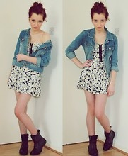 Jean Jacket + Sundress + Combat boots