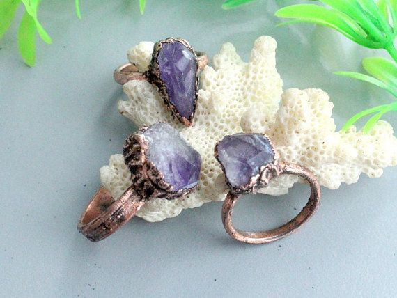 Amethyst crystal ringboho ringsstatement ring electroformed