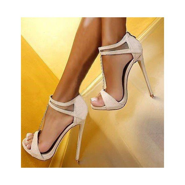 Women's Style Fashion T Strap Heels White Commuting Open Toe Ankle Strap Platform Stiletto Heel Sandals Fall Fashion Outfits Women Fall Fashion Wedding Dresses Shoes for Party, Big day | FSJ