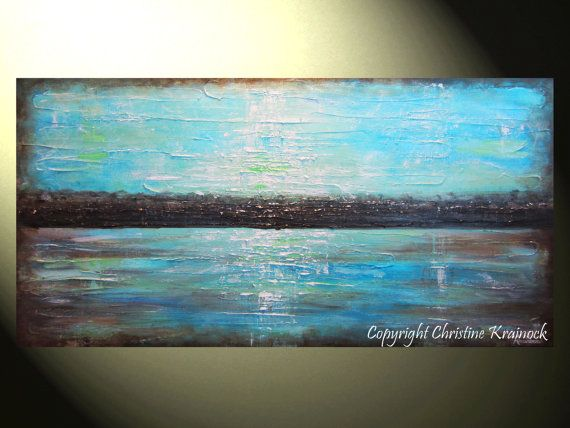 ORIGINAL Large Art Abstract Painting Blue Wall Decor Brown