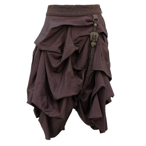 EW-111 - Brown Gathered Steampunk Skirt with Belt Detail - MADE TO ORDER - STEAMPUNK - 2012 Collection!