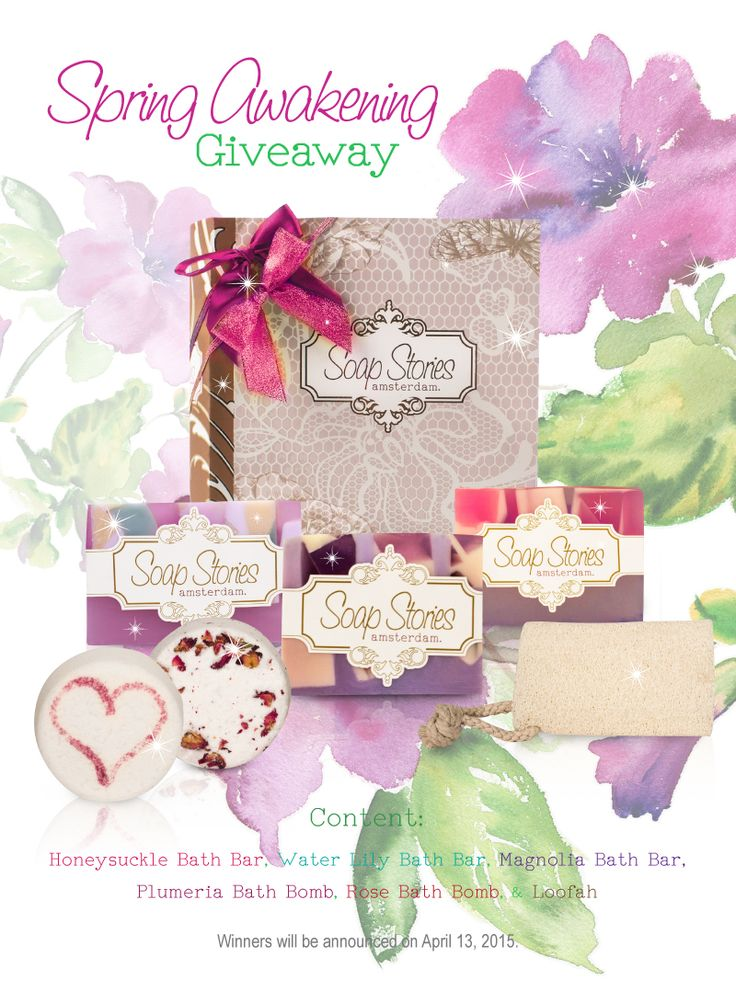 Our Spring Awakening Giveaway has officially LAUNCHED!!!:)) Go to our Soap Stories Facebook page to enter. #contest #prizes #giftbox #soaps #bathbars #bathbombs #loofah #yes