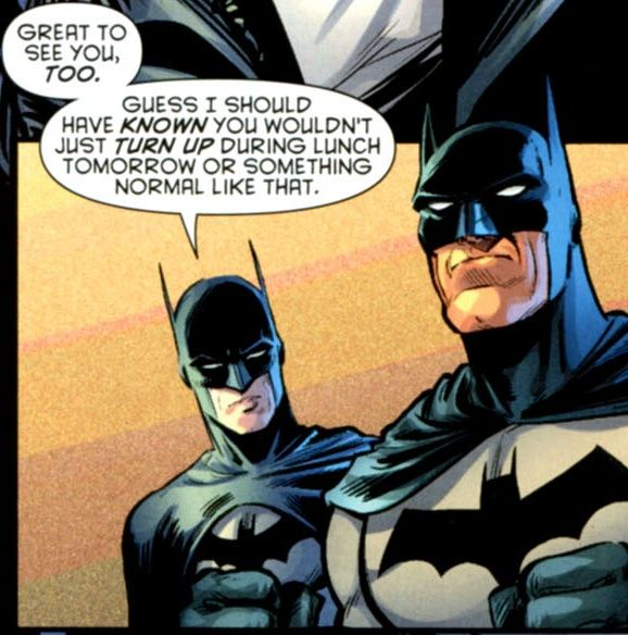 BEST LINE IN THE HISTORY OF COMICS EVER.  I loved everything about this scene, but mostly Dick's resigned attitude to Bruce coming back from being lost in time. At this point nothing can phase that boy.