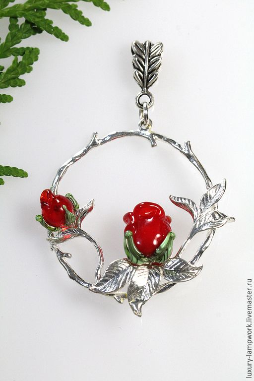 Купить Кулон Тайный сад - авторский лэмпворк красная роза - ярко-красный, цветы лэмпворк