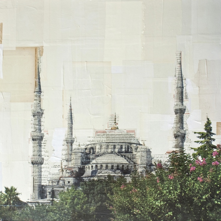 Nicolò Quirico. Istanbul, Santa Sofia - 2012 - stampa fotografica e collage - cm. 80 x 80         __________________________________________   Milano 29th May to 29th June 2013_Costantini Art Gallery