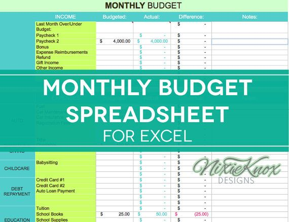 25 best ideas about Monthly Budget Spreadsheet – Monthly Expense Calculator