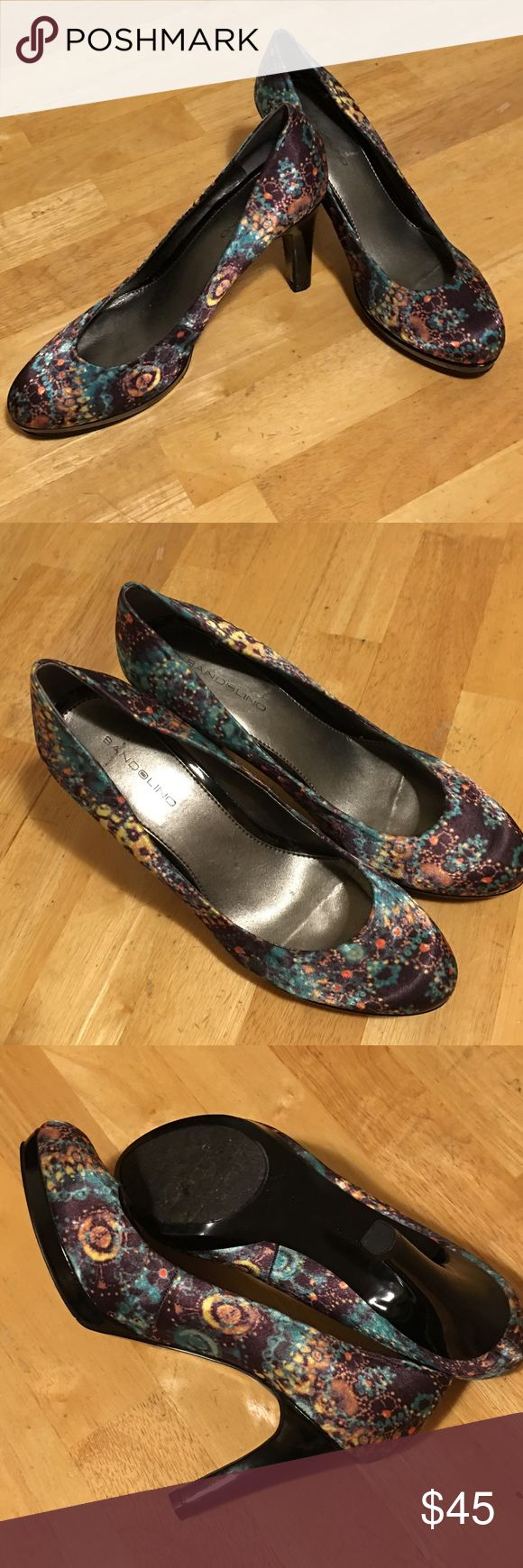 """🆕Listing - Bandolino Multi-Colored Heels Bandolino Satin Finish Heels with a Unique Muti-Colored Design. Heel height is 4"""".  Only worn once. Bandolino Shoes Heels"""