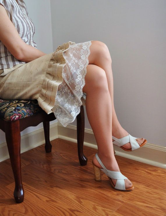 Ivory Long Lace RaffleTrim - Slip Extender (also Available in White ) - XS S M L XL on Etsy, $28.00