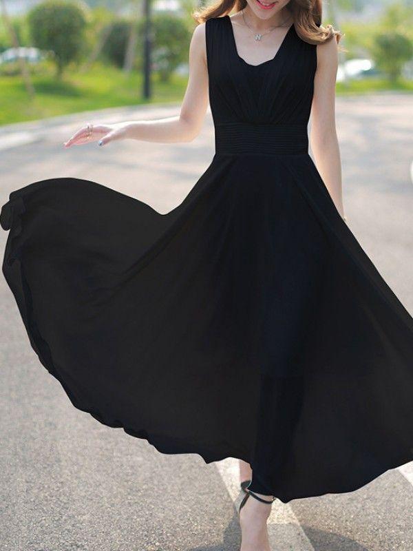 着心地よい切り替え大振り裾無地シフォンロングワンピース - レディースファッション激安通販 20代·30代·40代ファッション
