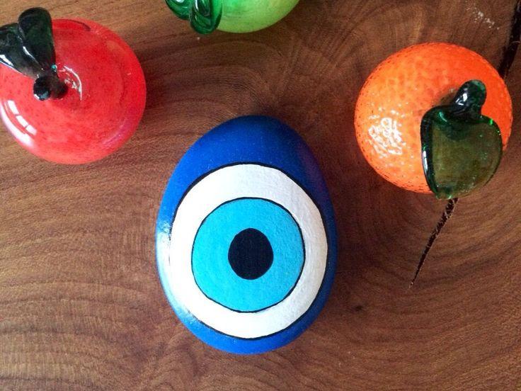 BLUE Turkish Style Stone Painting, Mandala Art, Pebbles for house, Pebbles for Sale, Evil Eye Stone, Handcrafted Stones, Stone Paint, Pebble by UrbanJewelleryShop on Etsy
