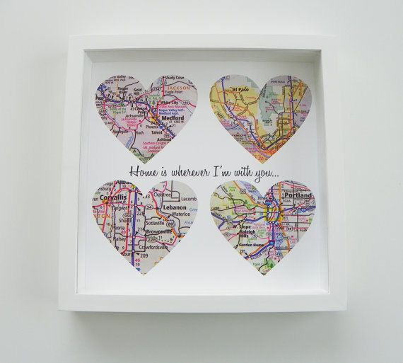 Personalized Anniversary Gift Custom FRAMED Print Special Date Special Saying Family Name Sign Map Heart - Any Location Available Worldwide on Etsy, $59.00