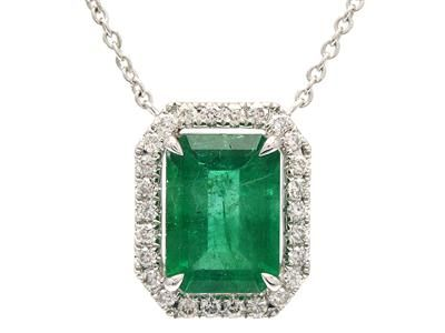 PENDANT/CHAIN, 18K white gold with emerald 1,47 ct, 26 brilliant cut diamonds 0,17 ctw, W/SI, length 40-45 cm, weight 3,4 g #pendant #emerald #diamonds #necklace #jewelry