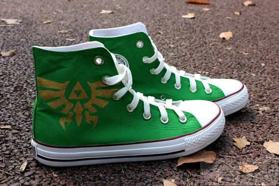 Game Legend of Zelda painted shoes. Amazing hand painting shoes