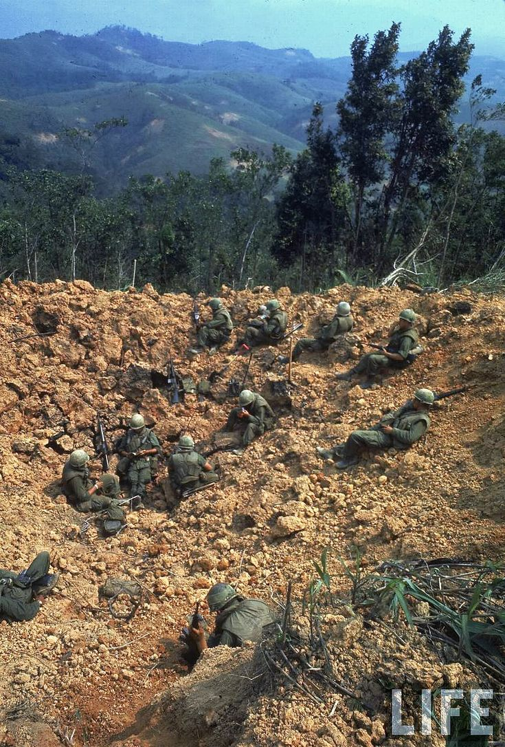 US Marines, 1968 - setting up in bomb craters. Remember it well...